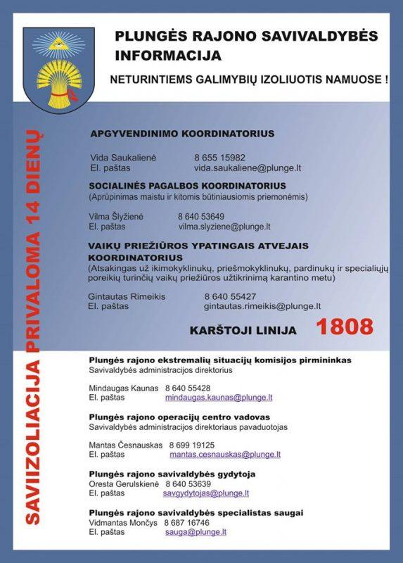 Informaciniai kontaktai dėl koronaviruso